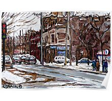 MONTREAL PAINTINGS POITE ST.CHARLES RUE CHARLEVOIOX WINTER STREETS MONTREAL ART Poster