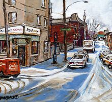 CANADIAN PAINTINGS BY CANADIAN ARTIST MONTREAL ART MONTREAL RESTAURANT CITY SCEN PAINTINGS  by Carole  Spandau