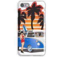 VW Split Window Bus Teal w Girl & Palmes iPhone Case/Skin