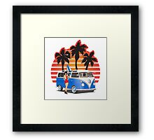 VW Split Window Bus Teal w Girl & Palmes Framed Print