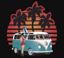 VW Split Window Bus Teal w Girl & Palmes by Frank Schuster