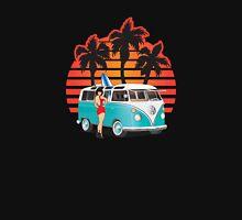 VW Split Window Bus Teal w Girl & Palmes Unisex T-Shirt