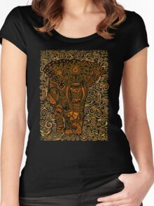 Aztec Elephant with floral Pattern Women's Fitted Scoop T-Shirt
