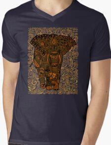 Aztec Elephant with floral Pattern Mens V-Neck T-Shirt