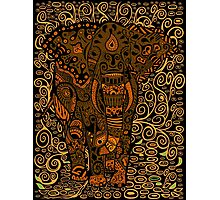 Aztec Elephant with floral Pattern Photographic Print