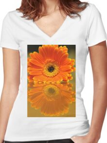 Double Orange Women's Fitted V-Neck T-Shirt