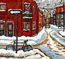 MONTREAL PAINTINGS POINTE ST.CHARLES WINTER STREET WITH SNOW AND BIKE  by Carole  Spandau