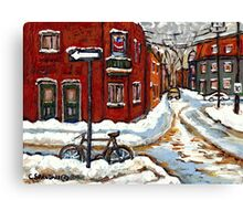 MONTREAL PAINTINGS POINTE ST.CHARLES WINTER STREET WITH SNOW AND BIKE  Canvas Print