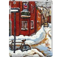 MONTREAL PAINTINGS POINTE ST.CHARLES WINTER STREET WITH SNOW AND BIKE  iPad Case/Skin
