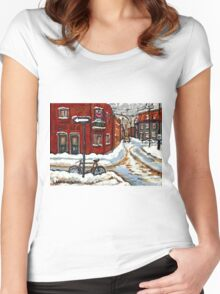 MONTREAL PAINTINGS POINTE ST.CHARLES WINTER STREET WITH SNOW AND BIKE  Women's Fitted Scoop T-Shirt
