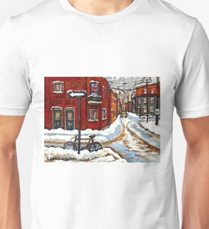 MONTREAL PAINTINGS POINTE ST.CHARLES WINTER STREET WITH SNOW AND BIKE  Unisex T-Shirt
