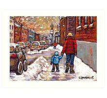 BEST CANADIAN CITY SCENES VERDUN MONTREAL WINTER SCENES Art Print
