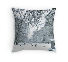 Snow in the Churchyard Throw Pillow