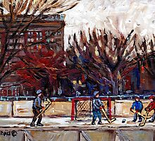 CITY OUTDOOR HOCKEY RINK GAME OF SHIMMY PARC LAFONTAINE MONTREAL HOCKEY SCENES by Carole  Spandau