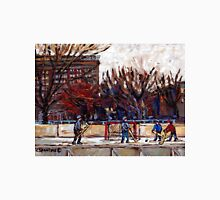 CITY OUTDOOR HOCKEY RINK GAME OF SHIMMY PARC LAFONTAINE MONTREAL HOCKEY SCENES Unisex T-Shirt