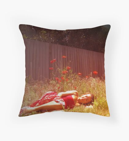 She stumbled behind the rainbow into a field of scarlet blooms Throw Pillow