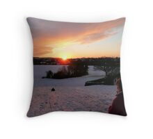 Sledging Into The Sunset Throw Pillow