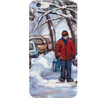 FATHER AND SON WINTER POINTE ST.CHARLES PAINTINGS MONTREAL ART CANADIAN PAINTINGS iPhone Case/Skin