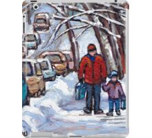 FATHER AND SON WINTER POINTE ST.CHARLES PAINTINGS MONTREAL ART CANADIAN PAINTINGS iPad Case/Skin