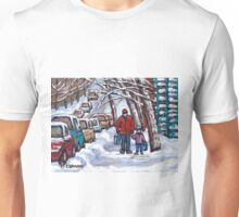 FATHER AND SON WINTER POINTE ST.CHARLES PAINTINGS MONTREAL ART CANADIAN PAINTINGS Unisex T-Shirt