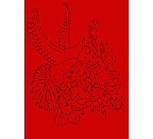 Red Pokemon (Generations 1/2) (Black Outline) Photographic Print