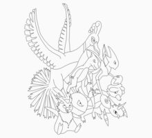 Red Pokemon (Generations 1/2) (Black Outline) Kids Clothes