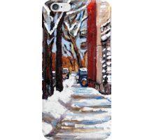 WINTER SNOWSTORM VERDUN MONTREAL STREET SCENES CANADIAN ART iPhone Case/Skin