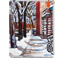 WINTER SNOWSTORM VERDUN MONTREAL STREET SCENES CANADIAN ART iPad Case/Skin