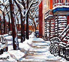 WINTER SNOWSTORM VERDUN MONTREAL STREET SCENES CANADIAN ART by Carole  Spandau