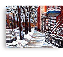 WINTER SNOWSTORM VERDUN MONTREAL STREET SCENES CANADIAN ART Canvas Print
