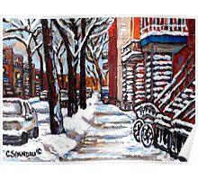 WINTER SNOWSTORM VERDUN MONTREAL STREET SCENES CANADIAN ART Poster