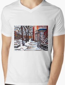 WINTER SNOWSTORM VERDUN MONTREAL STREET SCENES CANADIAN ART Mens V-Neck T-Shirt