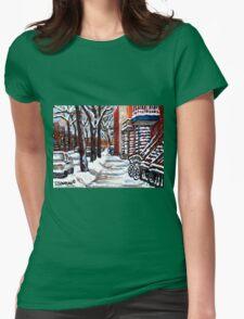 WINTER SNOWSTORM VERDUN MONTREAL STREET SCENES CANADIAN ART Womens Fitted T-Shirt