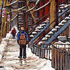 CANADIAN WINTER CITY SCENES MONTREAL ART VERDUN WALK NEAR WINDING STAIRCASES by Carole  Spandau