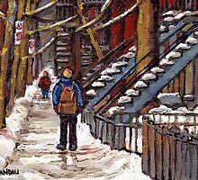 CANADIAN WINTER CITY SCENES MONTREAL ART VERDUN WALK NEAR WINDING STAIRCASES by Carole  Spandau