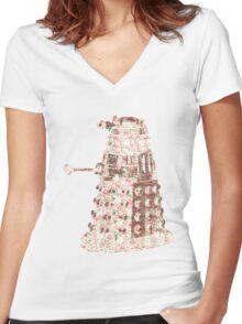 Floral Dalek Women's Fitted V-Neck T-Shirt