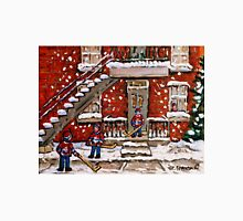 VERDUN DUPLEXES IN WINTER SNOWY DAY IN MONTREAL KIDS PLAYING HOCKEY IN THE STREET Unisex T-Shirt