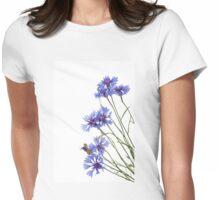 Slant blue cornflower flowers Womens Fitted T-Shirt
