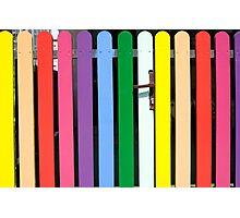 Multicolored rainbow picket fence Photographic Print