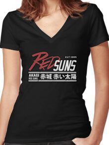 Red Suns. Women's Fitted V-Neck T-Shirt