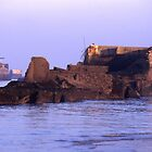 The remains of Mulberry Harbour, Arromanches, Normandy, France. by Peter Stephenson