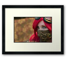 Mysterious Steam Punk Red Head Framed Print