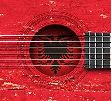 Old Acoustic Guitar with Albanian Flag by Jeff Bartels