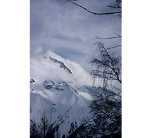View through the trees, Les Deux Alpes, The French Alps Photographic Print
