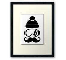Ski snowboard hat mustache Framed Print