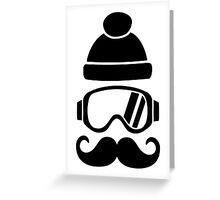 Ski snowboard hat mustache Greeting Card