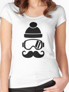 Ski snowboard hat mustache Women's Fitted Scoop T-Shirt