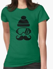Ski snowboard hat mustache Womens Fitted T-Shirt