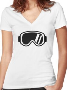 Skiing goggles Women's Fitted V-Neck T-Shirt