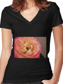 Pink And Yellow Rose Women's Fitted V-Neck T-Shirt